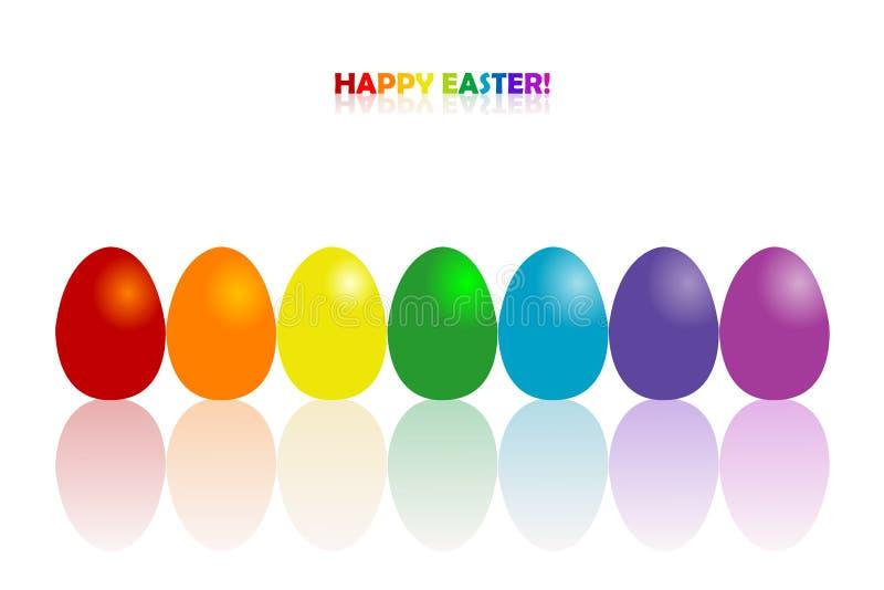 Pasen-de groetkaart met regenboog kleurt eieren stock illustratie