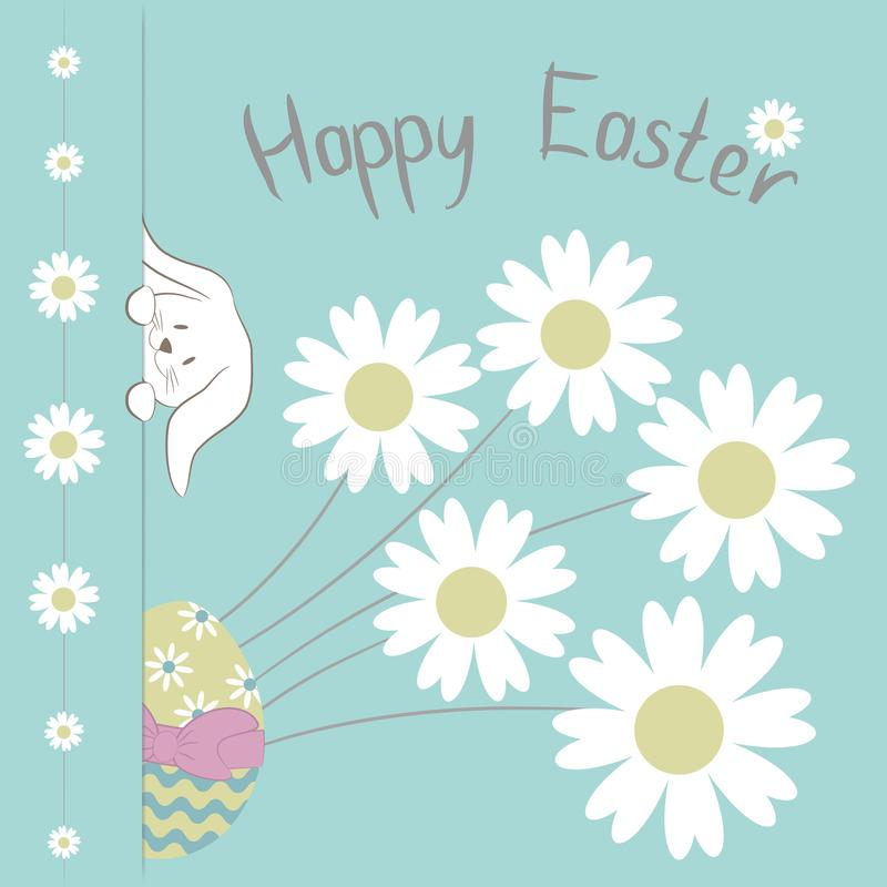 Pasen-de Kaart met de Gelukkige Pasen ` uitdrukking van `, leuk Pasen-Konijntje, kleurrijke ei en Kamille bloeit op blauwe achter royalty-vrije illustratie