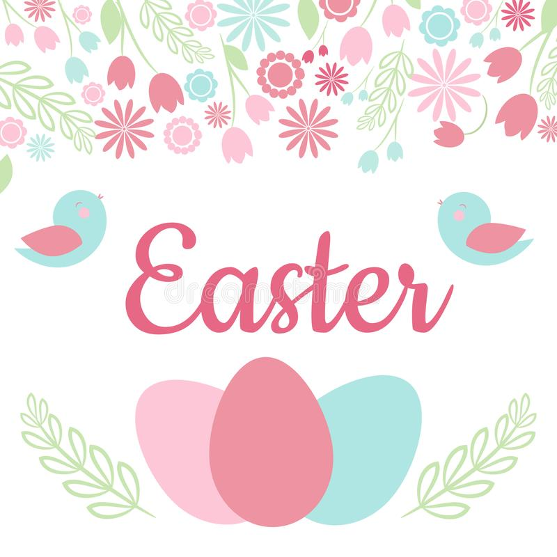 Pasen-de Kaart met de uitdrukking van ` Pasen `, springt bloemenkader, vogels en paaseieren op stock illustratie
