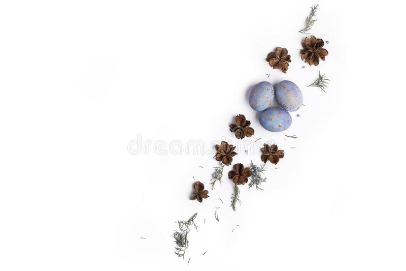 Pasen-de vlakte legt samenstelling met eieren royalty-vrije stock foto
