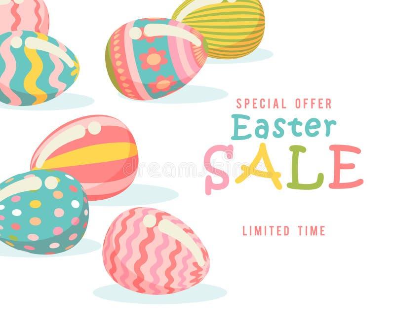 Pasen-de vlieger van de verkoopaanbieding met eieren en de lentebloemen Modern malplaatje met pastelkleuren royalty-vrije illustratie