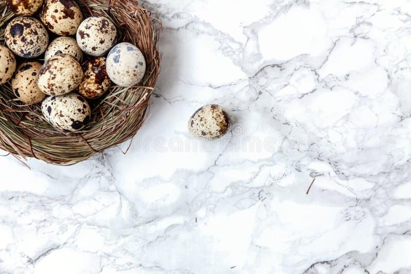 Pasen-decoratie met ei in nest op witte marmeren achtergrond royalty-vrije stock foto