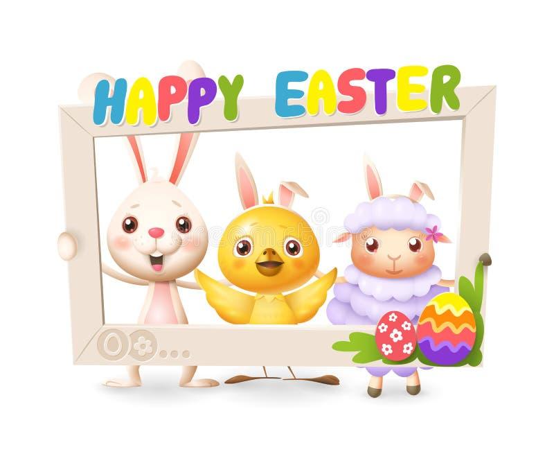 Pasen-dieren - de Gelukkige leuke konijntjeskip en het lam vieren Pasen met het sociale die kader van de netwerkfoto - op witte a vector illustratie
