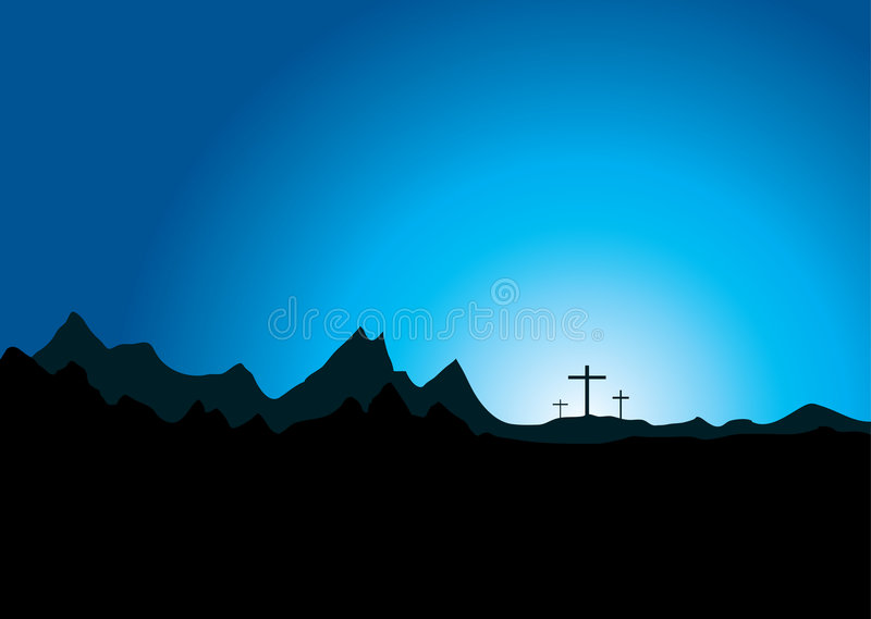 Pasen drie kruis stock illustratie