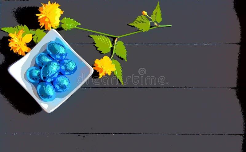 Pasen-eieren van de beeld de blauwe chocolade en donkere houten achtergrond stock afbeelding
