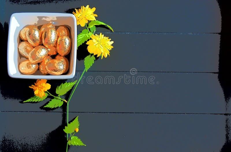Pasen-eieren van de beeld de gouden chocolade en donkere houten achtergrond royalty-vrije stock foto's