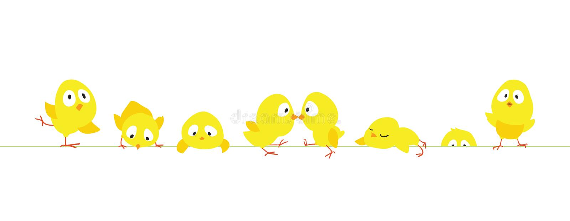 Pasen-grens met grappige leuke kippen stock illustratie