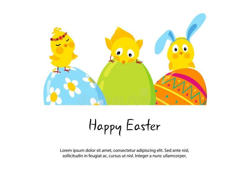 Pasen-grens met grappige leuke kuikens en eieren royalty-vrije illustratie