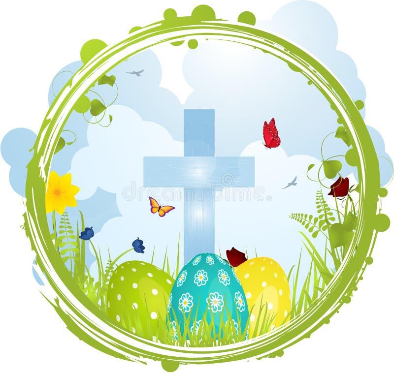 Pasen-grens met Kruis en eieren vector illustratie