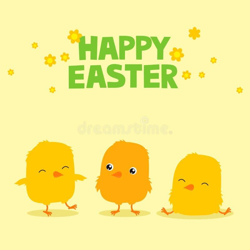 Pasen-groetkaart met drie leuke kuikens van de beeldverhaalbaby en tekst die Gelukkige Pasen zeggen royalty-vrije illustratie