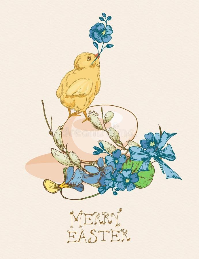 Pasen-groetkaart met ei, kip, blauwe bloemen op beige achtergrond stock illustratie