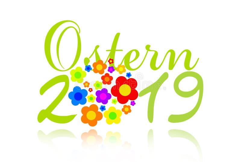 Pasen - 2019 - groetkaart met hippiebloemen stock illustratie