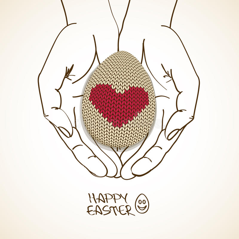 Pasen-groetkaart met menselijke handen die gebreid ei houden vector illustratie