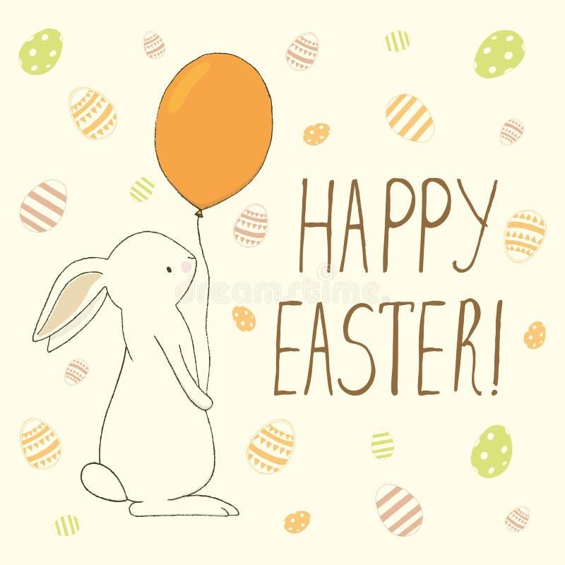 Pasen-groetkaart met paaseieren en konijntjeskrabbels Hand le royalty-vrije illustratie