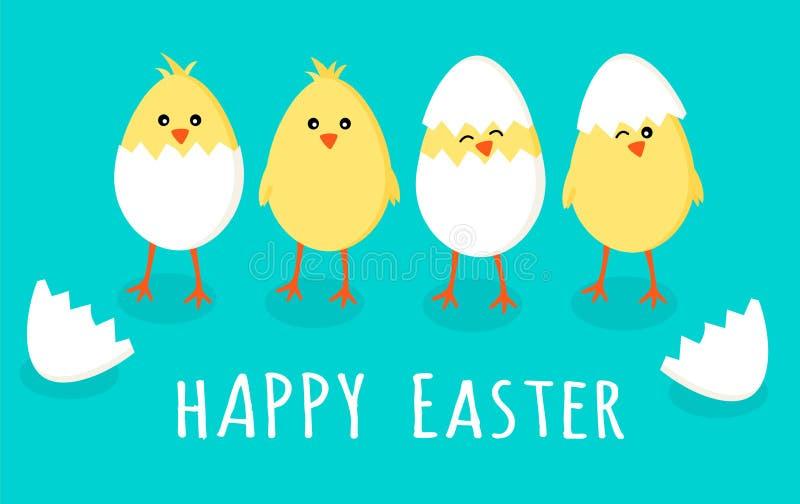 Pasen-groetkaart met vier leuke kleine gele kuikens in gebarsten eieren en eishell met tekentekst gelukkige Pasen stock illustratie