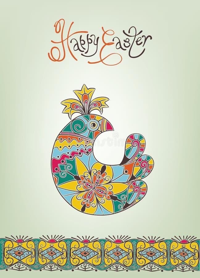 Pasen-hand-drawn typografie van het kaart de etnische kuiken royalty-vrije illustratie