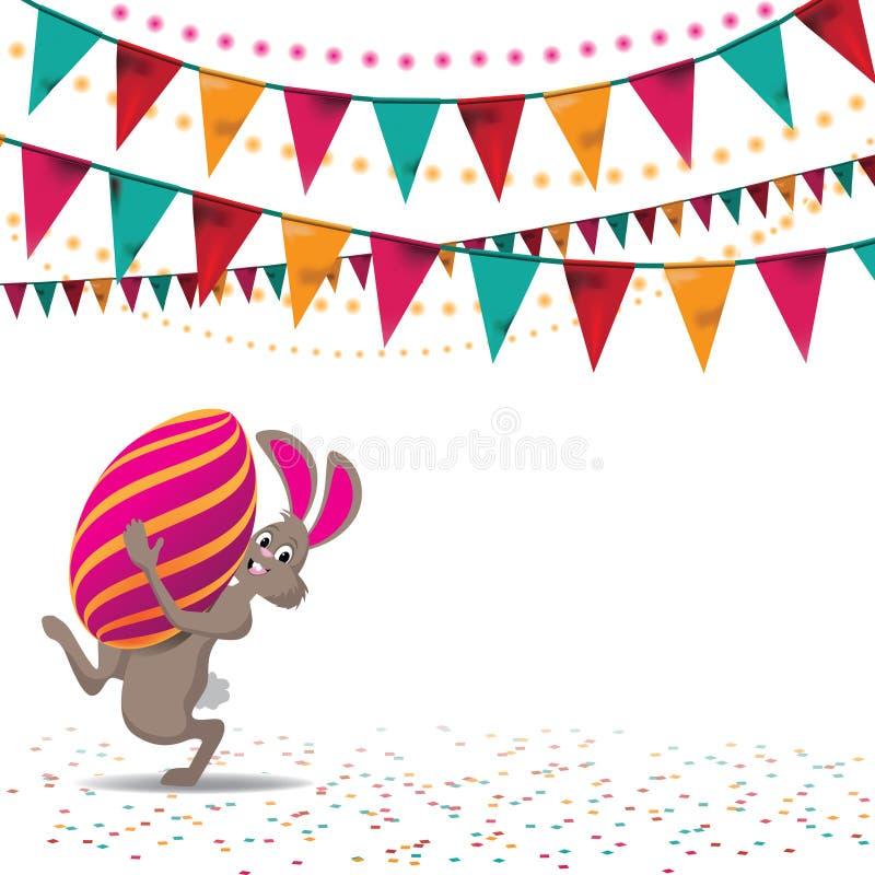 Pasen-het ei en bunting van het verkoopkonijntje achtergrondeps 10 vector vector illustratie