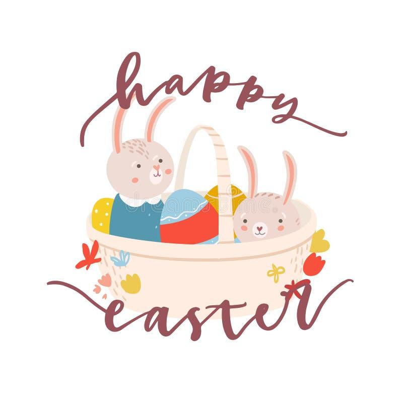 Pasen-het malplaatje van de groetkaart met paar aanbiddelijke konijntjes of konijnen die in mandhoogtepunt verbergen van verfraai royalty-vrije illustratie