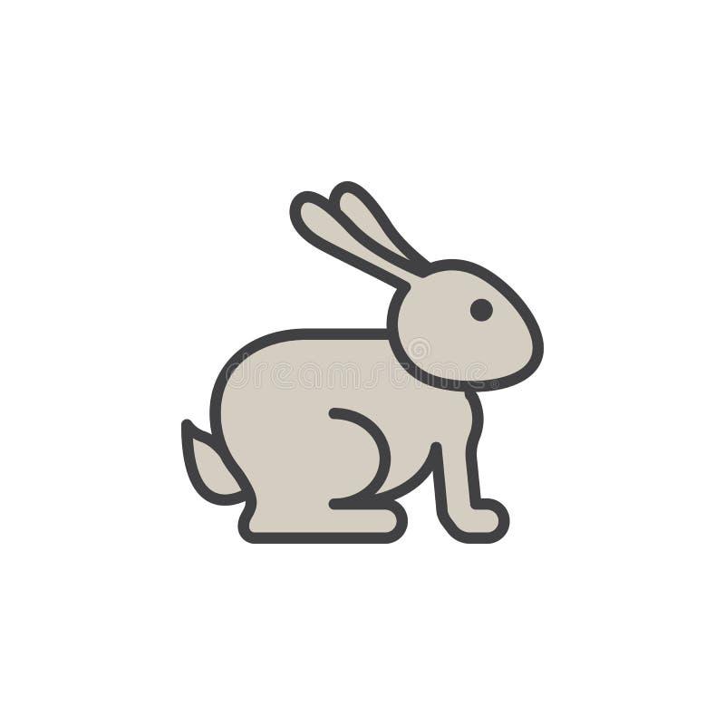 Pasen-het pictogram van de konijnlijn, gevuld overzichts vectorteken, lineair die pictogram op wit wordt geïsoleerd royalty-vrije illustratie