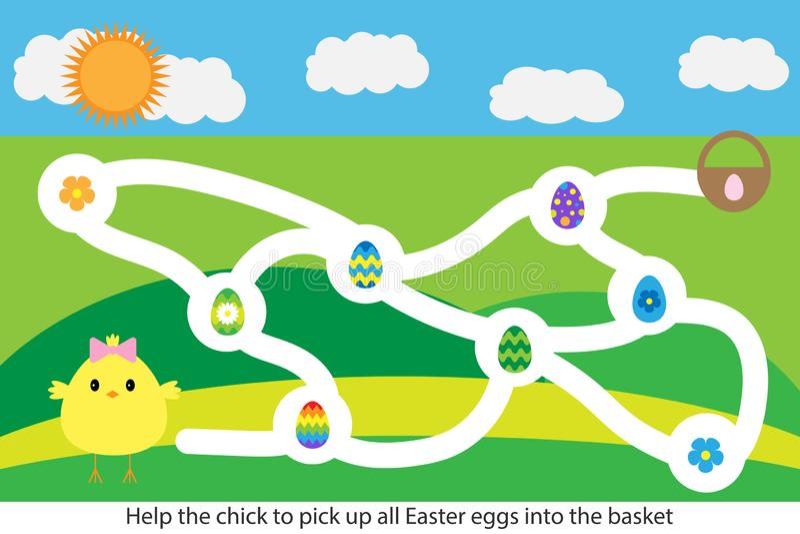 Pasen-het spel van het labyrintlabyrint, helpt het kuiken om alle eieren, leuk beeldverhaalkarakter, peuteraantekenvelactiviteit  stock illustratie