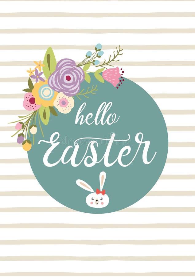Pasen-het van letters voorzien van Hello Pasen van het typografiecitaat hand getrokken het konijntjeskonijn van het banner bloeme royalty-vrije illustratie