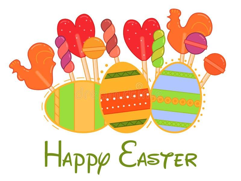 Pasen-illustratie met kleurrijk eieren en suikergoed in vlakke stijl het element van de vakantiedecoratie Pasen, de lenteconcept royalty-vrije stock foto's