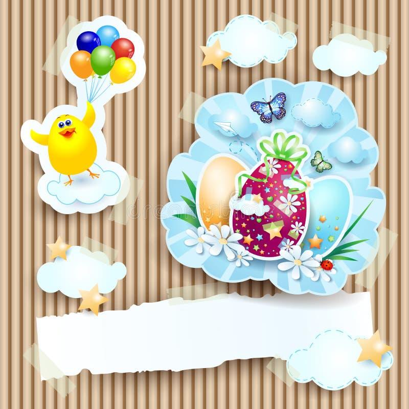 Pasen-illustratie met kuiken en eieren op kartonachtergrond royalty-vrije illustratie