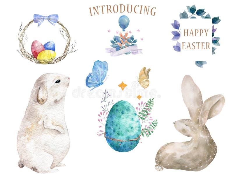 Pasen-inzameling, ontwerpelementen Waterverf twee konijntje en vlinder twee, schoonheidsei met bloemen en kader voor gelukkig royalty-vrije illustratie