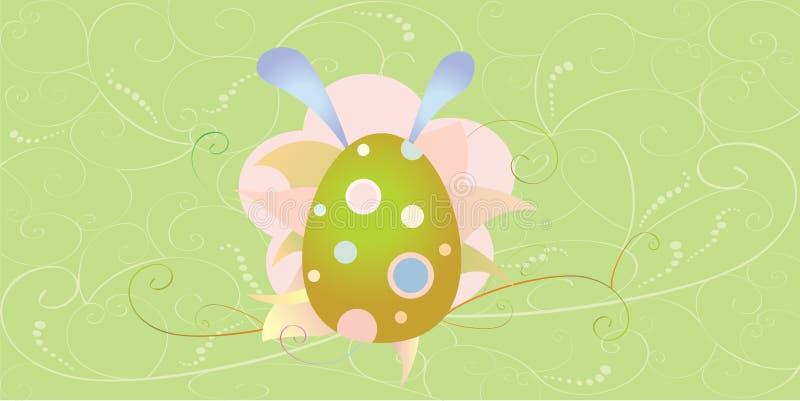 Pasen-kaart met ei en bloemen stock fotografie