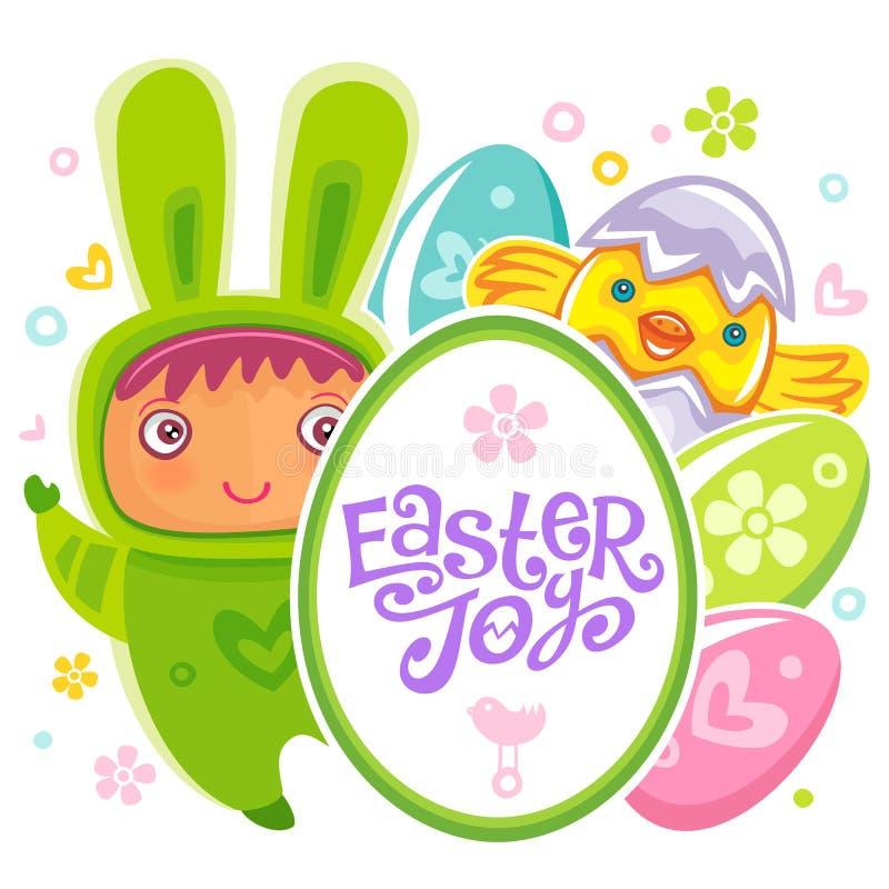 Pasen-Kaart met kind van het ei het jagende konijn vector illustratie