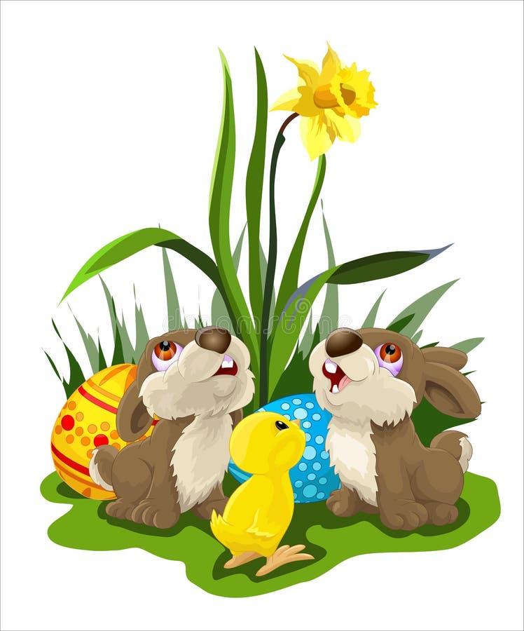 Pasen-kaart met konijntjes en kip stock afbeeldingen