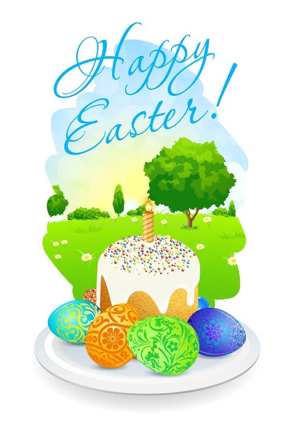 Pasen-Kaart met Landschap, Cake en Verfraaide Eieren stock illustratie