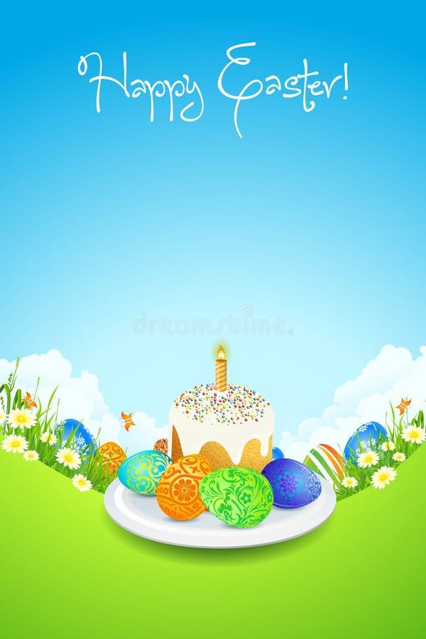 Pasen-Kaart met Landschap, Cake en Verfraaide Eieren royalty-vrije illustratie