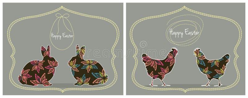 Pasen-Kaarten met Konijntjes en Kippen stock afbeelding