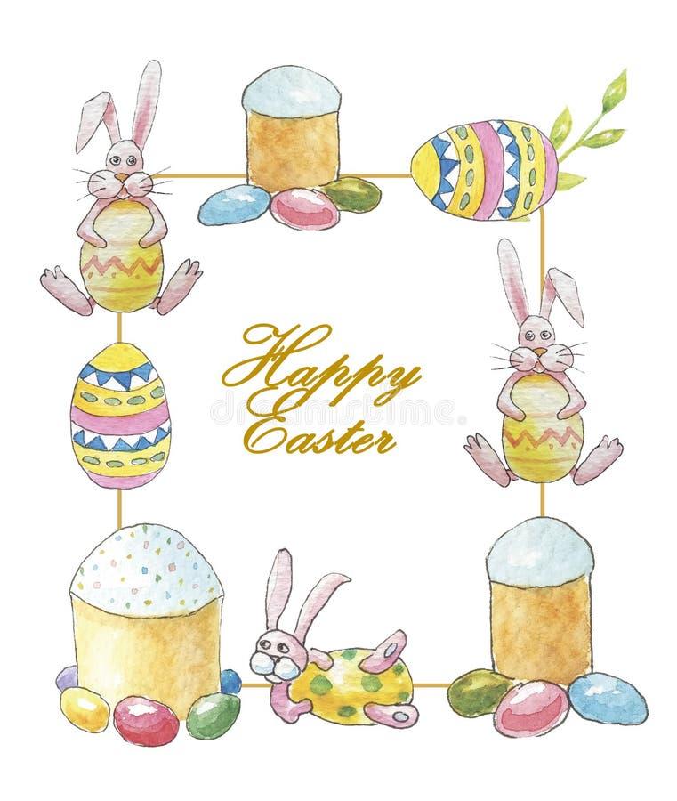 Pasen-kader met een inschrijving Gelukkige Pasen met een konijn, cakes en verfraaide eieren op een witte achtergrond vector illustratie
