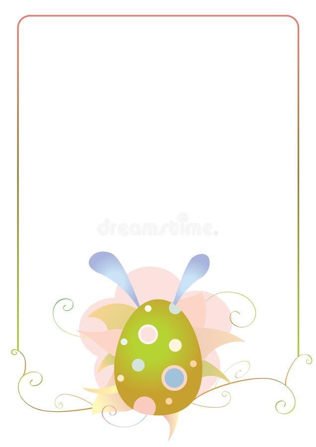 Pasen-kader met ei en bloemen stock afbeelding