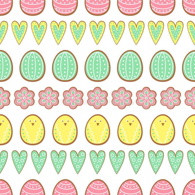 Pasen-koekjespatroon, kaart - paaseieren, harten en bloemen Leuke vector naadloze achtergrond stock illustratie
