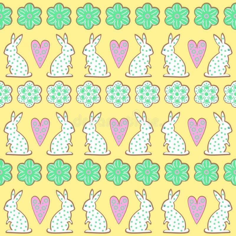Pasen-koekjespatroon, kaart - Paashaas, bloemen, harten op gele achtergrond stock illustratie