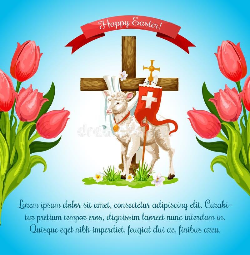 Pasen-kruis met lam en bloemaffichemalplaatje stock illustratie