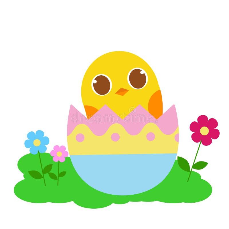 Pasen-kuiken komende vorm een kleurrijk ei vector illustratie