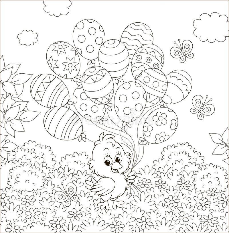 Pasen-Kuiken met verfraaide ballons royalty-vrije illustratie