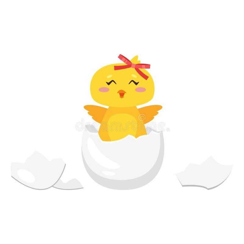 Pasen-kuiken van ei wordt uitgebroed dat vector illustratie