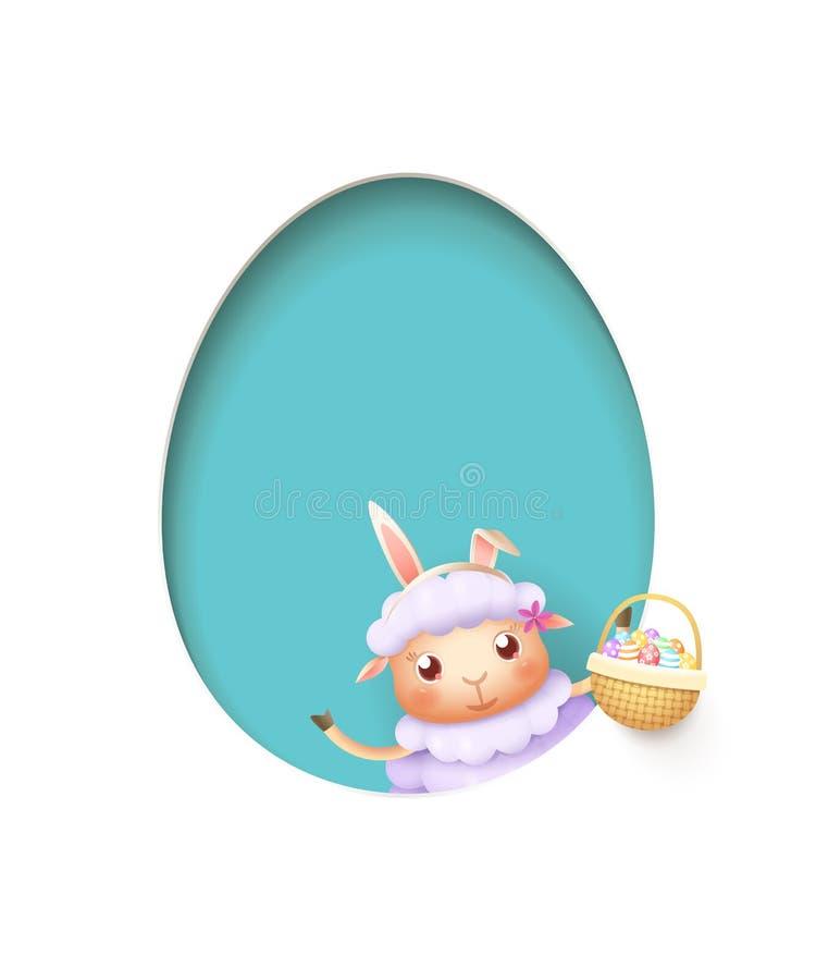Pasen-lam in een ei gaf blauw gat met een mand gestalte die met verfraaide eieren wordt gevuld - die op wit worden geïsoleerd royalty-vrije illustratie