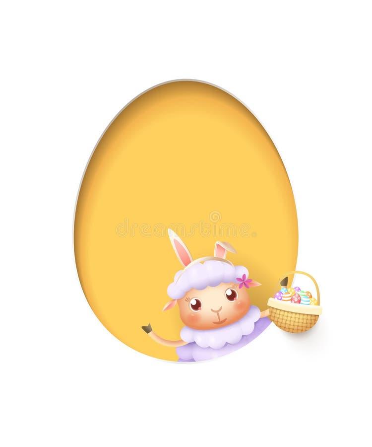 Pasen-lam in een ei gaf geel gat met een mand gestalte die met verfraaide eieren wordt gevuld - die op wit worden geïsoleerd stock illustratie
