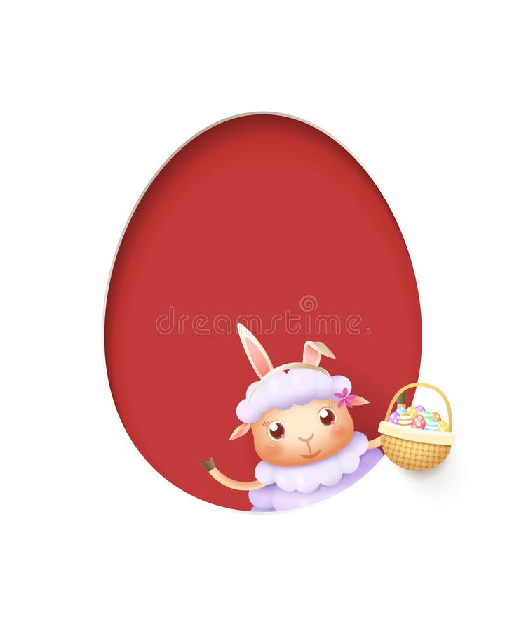 Pasen-lam in een ei gaf rood die gat met een mand gestalte met verfraaide die eieren wordt gevuld - op wit worden geïsoleerd royalty-vrije illustratie