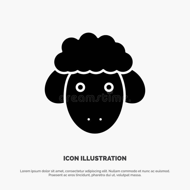 Pasen, Lam, Schapen, het Pictogramvector van de Lente stevige Glyph vector illustratie