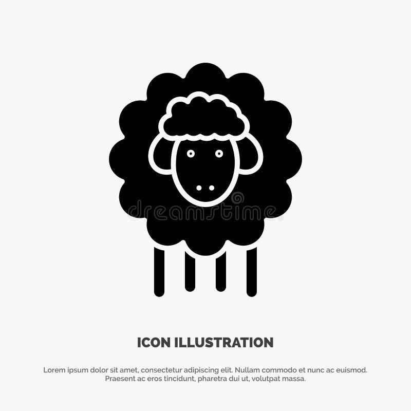 Pasen, Lam, Schapen, het Pictogramvector van de Lente stevige Glyph stock illustratie