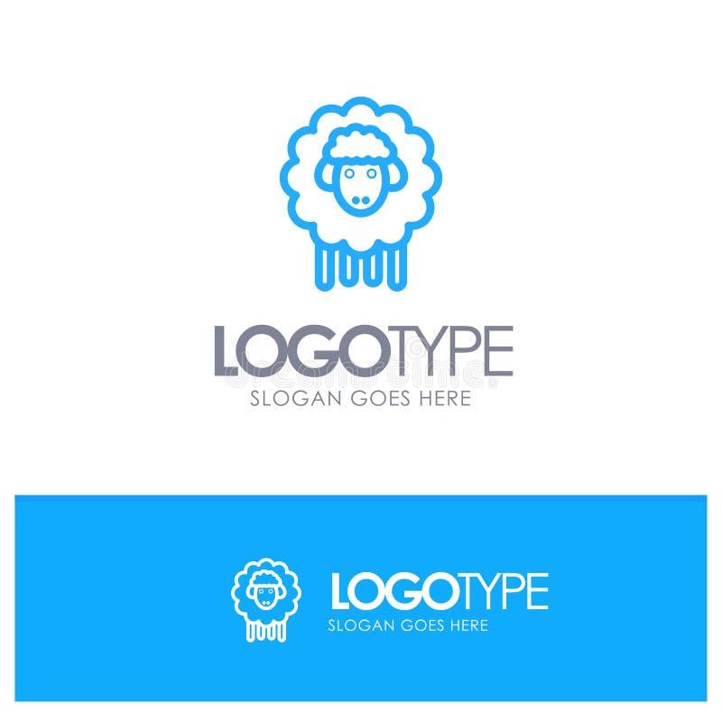 Pasen, Lam, Schapen, springt Blauw Overzicht Logo Place voor Tagline op stock illustratie