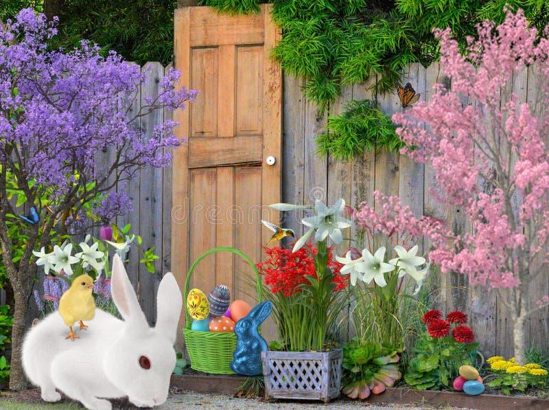 Pasen is in leven in alle tuinen met de belofte van vernieuwing voor alle levende wezens royalty-vrije stock foto
