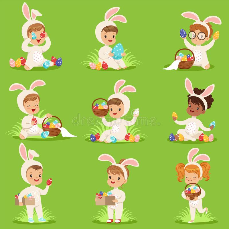 Pasen met eieren en kinderen in konijntjeskostuums dat wordt geplaatst stock illustratie